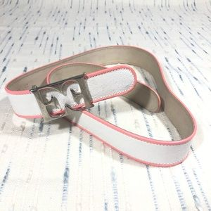 Escada White Leather Pink Trim Belt Silver Buckle